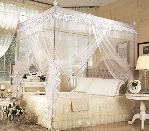 - Nattey 4 Poster Corners Princess Bed Curtain Canopy Mosquito Netting Canopies (Full, White)