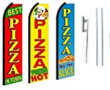 Best Pizza In Town, Pizza Fresh Hot, Pizza By The Slice King Swooper Feather Flag Sign Kit With Pole and Ground Spike- Pack of 3