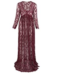 Kate Kasin Deep V-Neck See-Through Lace Maxi Long Maternity Dress