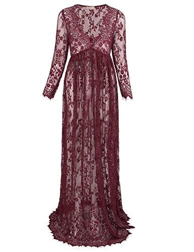 Kate Kasin® Vestido de Mujeres Embarazadas Cuello en V Profundo Ver a Través Vestido Maxi de Encaje Vino
