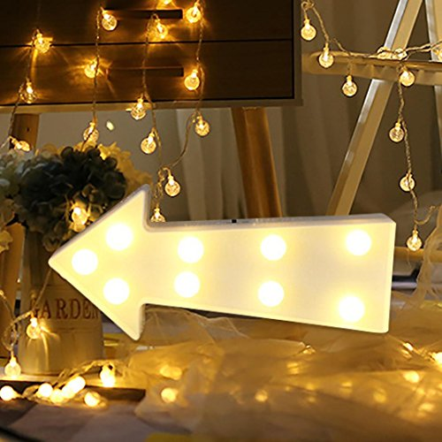 (Nesee Party Home Decor LED Letter Alphabet Standing or Hanging Lights Light Up White Plastic Letters Could (Arrow))