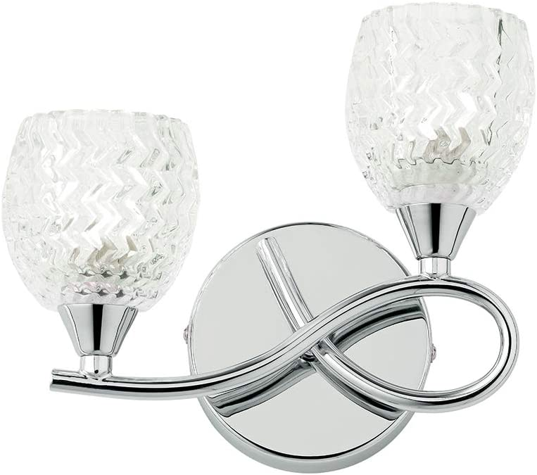 Reagan Decorative Silver Chrome Curved Arm Twin Wall Light with Patterned Cut Glass Shades Right Orientated
