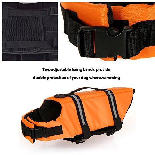 Gtpeak Dog Life Jacket Swimming Vest Saver with professional Flotation Device Reflective Stripe Adjustable Elastic Band Easy Grabbing Different Sizes by Gtpeak (Image #2)