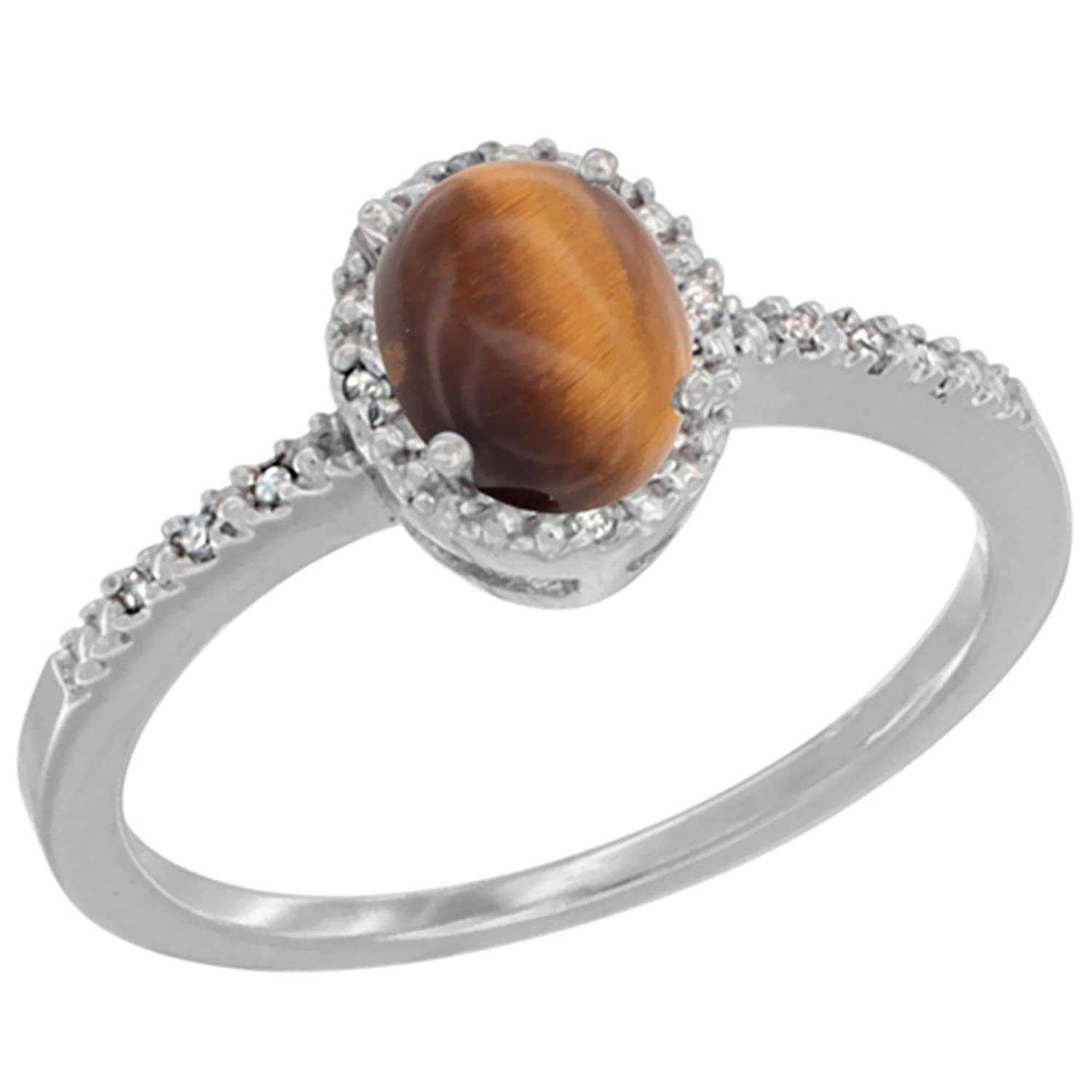 10K White Gold Diamond Natural Tiger Eye Engagement Ring Oval 7×5 mm, sizes 5 – 10