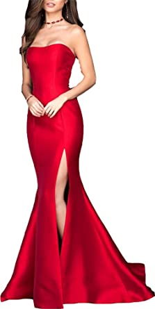 Ladsen Sexy Mermaid High Slit Evening Prom Dresses Red US14 Size