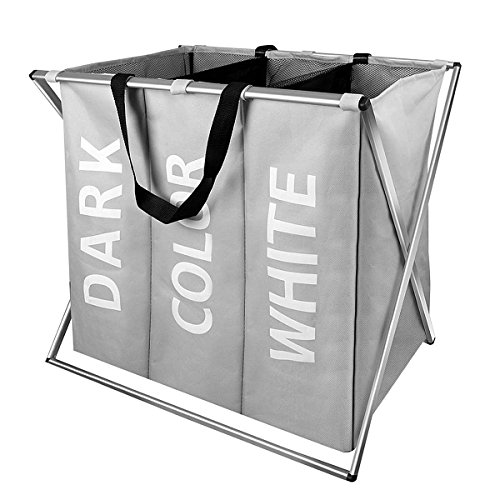 WIFUME New 3 Sections Laundry Hamper Basket with Handle Folding Aluminum X-Frame 25