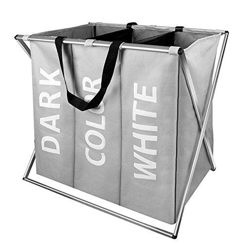 s Laundry Hamper Basket with Handle Folding Aluminum X-Frame 25
