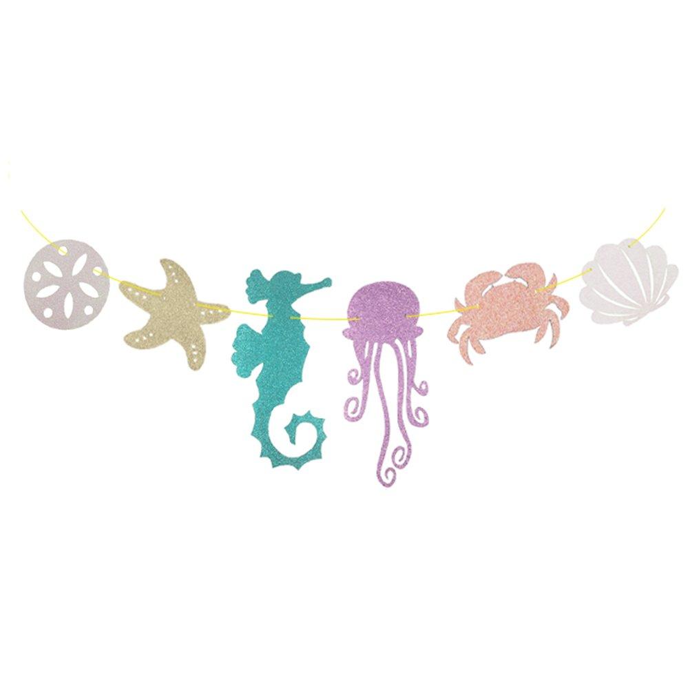 貝殻バナー タツノオトシゴ クラブ 貝殻 貝殻 星 キラキラバナー 子供の誕生日パーティー装飾用   B07J3FMDHZ