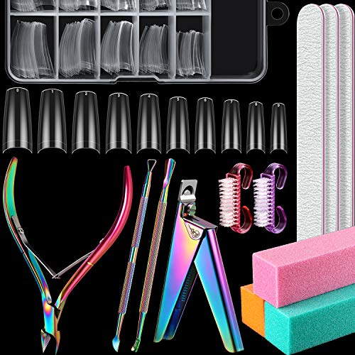 Acrylic-Nail-Clipper-Kit-Included-Acrylic-Nail-Cutter-100-Pieces-Acrylic-Nail-Tips-Cuticle-Nipper-Cuticle-Pusher-Remover-Nail-Tip-Clipper-Nail-File-Buffer-Blocks-Nail-Brushes-Clear-Color
