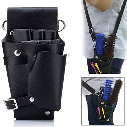 Transser Stylist Leather Rivet Scissors Comb Pouch Holder Holster - Barber Hair Salon Hairdressing Shears Shoulder Bag Hairstylist Tools Storage - Groomers Organizer