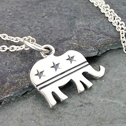 Republican Elephant Necklace - 925 Sterling Silver