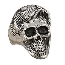 Punk Stainless Steel Silver Gold Plated Gothic Joker Clown Skull Ring