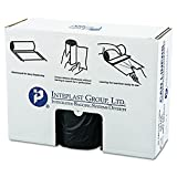 Inteplast Group VALH3860K22 60 gallon Capacity, 58'' Length x 38'' Width x 19 Mic Thickness, Black Color, HDPE Commercial Coreless Valu-Plus Institutional Trash Can Liner (Case of 6 Roll, 25 Bags per Roll)