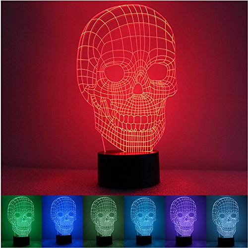 (Nicebee 3D Skull illusion Bedroom Night Touch 7 color change LED desk table light lamp USB charging LED Table Lamp)