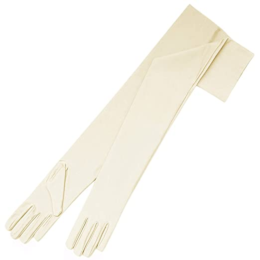 Edwardian Gloves, Handbag, Hair Combs, Wigs ZaZa Bridal 23.5 Long 4-Way Stretch Matte Finish Satin Dress Gloves Opera Length 16BL $16.99 AT vintagedancer.com