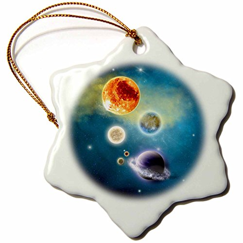 3dRose New Solar System has been transformed, a space scenario - Snowflake Ornament, Porcelain, 3-inch (orn_181697_1) by 3dRose