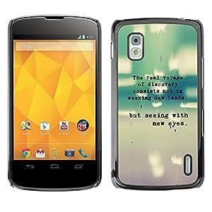 Qstar Arte & diseño plástico duro Fundas Cover Cubre Hard Case Cover para LG Google NEXUS 4 / Mako / E960 ( Teal Grey Text Typewriter Grey Poem Sweet)