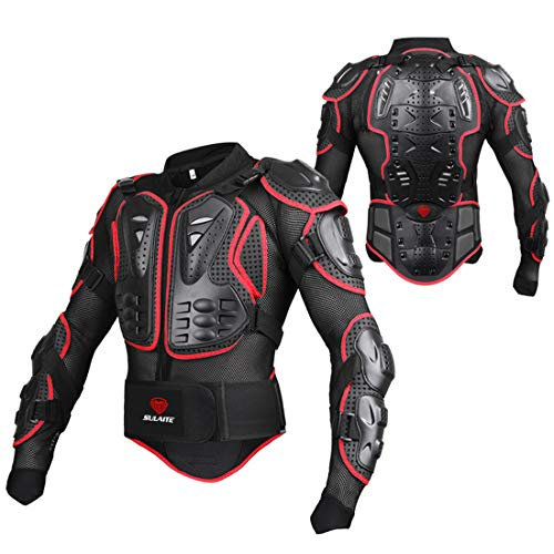 METTE Motorcycle Protective Jacket,Sport Motocross MTB Racing Body Armor Protector Back Protection Anti-Fall Breathable Jacket,Black & Red,Unisex,Red