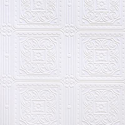 Brewster RD80000 Anaglypta Paintable Scroll In Square Tiles Wallpaper, 21-Inch by 396-Inch, White