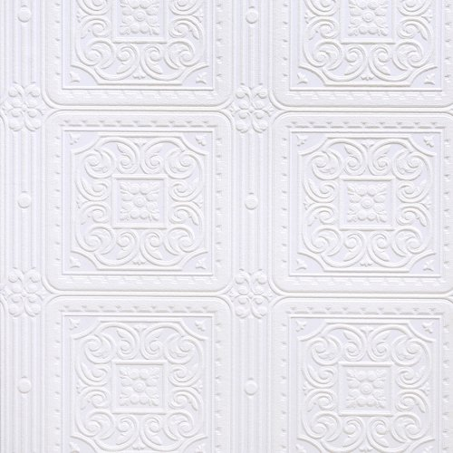 (Brewster RD80000 Anaglypta Paintable Scroll in Square Tiles Wallpaper, 21-Inch by 396-Inch, White)