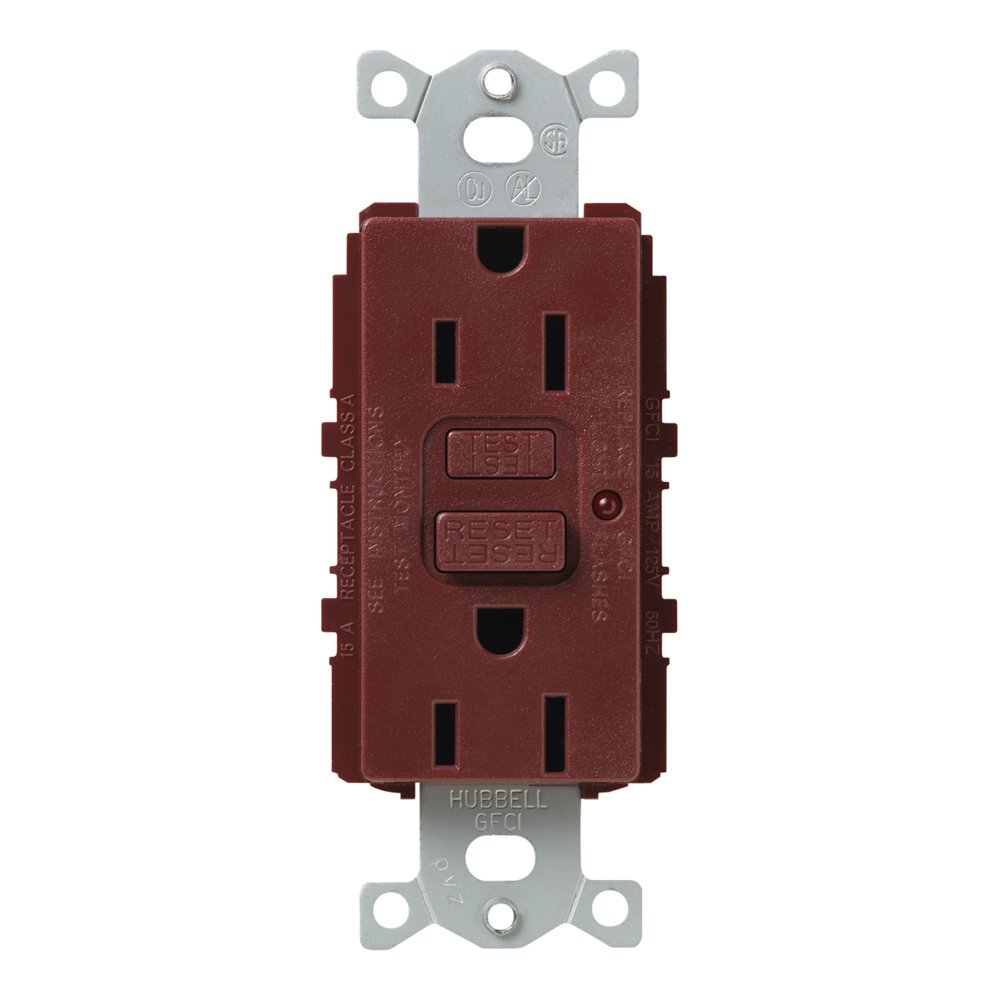 Lutron SCR-15-GFTR-MR Satin Colors 15A GFTR Electrical Socket Receptacle, Merlot
