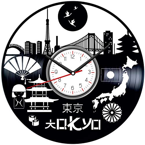 Tokyo Japan Black Vinyl Clock - Vintage Room Kitchen Bedroom Decor - Vinyl Record Gift Idea for Birthday Christmas Hanukkah - Unique Vintage Wall Art - Personalized Home Decoration - 12 Inch -