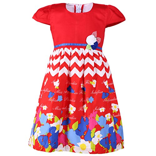 Sweety Jilax Red and White 5 Year Girls Frock