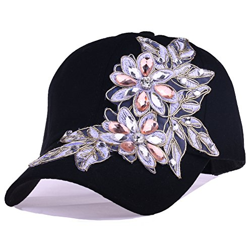 Bling Black Baseball Cap Women Lace Flower Rhinestone Snapback Golf Sun Hats (85 Black) - Lace Studded Shorts