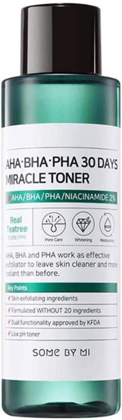 تونر ميراكل غني بحمض الفا هيدروكسي وبوتيل هيدروكسي انيزول يستخدم لمدة 30 يوم من سوم باي مي، 150 مل