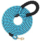 Shorven Nylon Strong Dog Rope Lead Reflective Training Dog Leash with Soft Handle 5-20 FT Long Aqua Blue (Dia:0.5' 10FT)