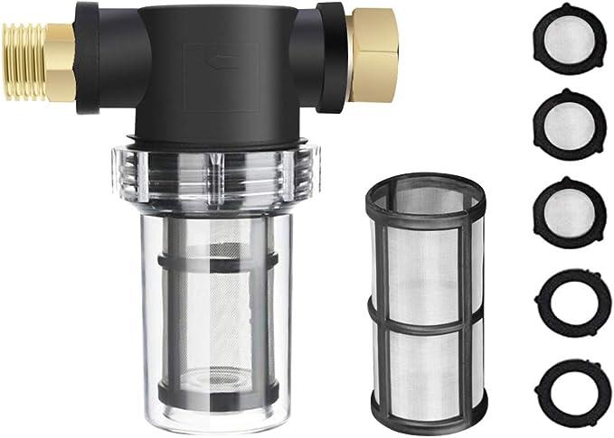 LQKYWNA Purificador De Agua Reutilizable Lavador De Alta Presión Prefiltro 3/4 Tubo De Agua De Jardín Filtro De Grifo Suministros De Filtro De Malla Metálica: Amazon.es: Hogar