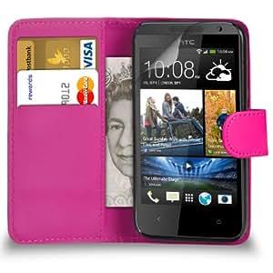 DMA HTC Desire 300 Cartera de cuero del caso del tirón de la cubierta Pouch + 2 x Protector de pantalla y paño de pulido (Hot Pink)