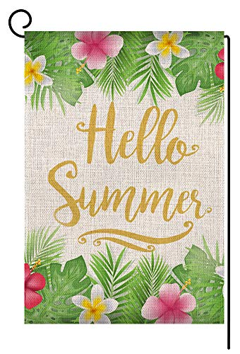 Hello Summer Flower Small Garden Flag Vertical Double Sided 12.5 x 18 Inch Floral Burlap Yard Outdoor Decor