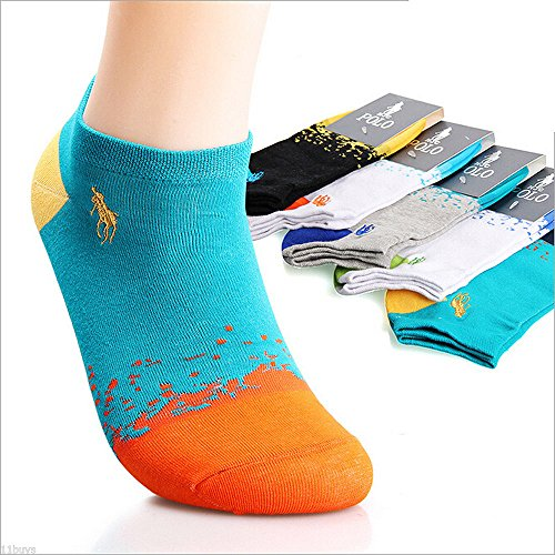 5 Pairs Men's HJC Polo Casual Cotton Socks NO SHOW ANKLE LOW CUT Summer Sport