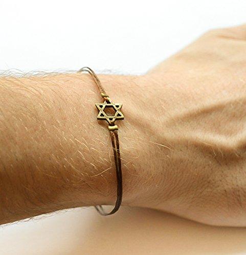 Star-of-David-mens-bracelet-bronze-gift-for-him-brown-bracelet-for-men-Bar-Mitzvah-gift-Jewish-Hebrew-Jewelry-from-Israel-spiritual