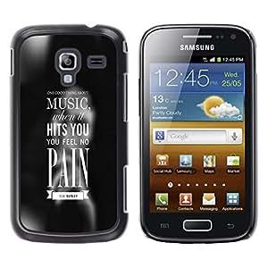 ROKK CASES / Samsung Galaxy Ace 2 I8160 Ace II X S7560M / MUSIC HITS YOU / Delgado Negro Plástico caso cubierta Shell Armor Funda Case Cover