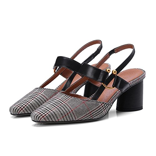 Jqdyl High Heels Weibliche Sandalen Damenschuhe Heel High Heel Spitze Fashion Plaid  37|Lattice