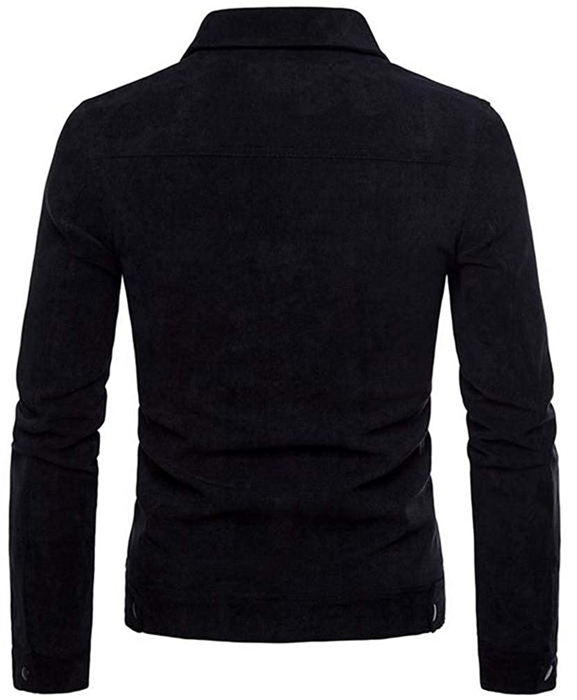 Pandapang Men Classic Pocket Lapel Neck Long Sleeve Corduroy Button Down Shirts