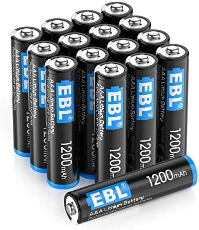 EBL 16 Pack 1200mAh 1.5V Lithium AAA Batteries - High Performance Constant Volt for Remote Control, Toys, Digital Cameras (Non-Rechargeable)