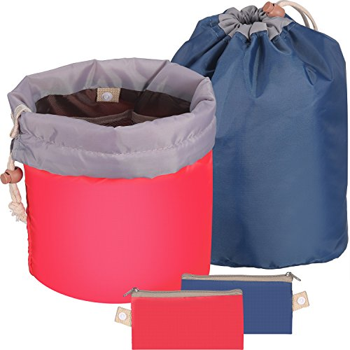 Bememo 2 Pieces Barrel Shaped Travel Bag Makeup Bag Cosmetic Bag Travel Kit Organizer Bathroom Storage Carry Case Toiletry Bags (Blue and Red)