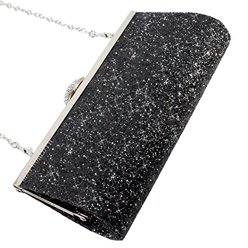 Crystal Style Case Handbag Prom Purse Clutch Diamante 1 Party Fashion Silver Wocharm Box Encrusted Hard Evening Shimmering Bridal Bag Black T4tqaw6g