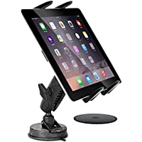 Tablet Car Mount, DigiMo Windshield Holder or Dash Car Mount Holder for Samsung Chromebook Laptop / Tab E, A S2 S3 5 4 3 Tablets w/ Anti-Vibration Pedestal & Swivel Cradle (with or without case)