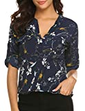 BEAUTEINE Women Button-Down Chiffon Shirts Floral Printed Henley V Neck Blouses Cuffed Sleeve Tunic Tops, Pat1, Large