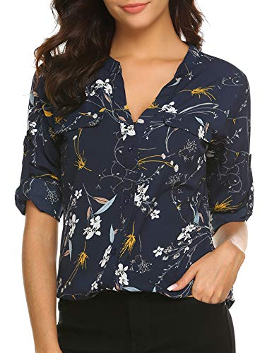 BEAUTEINE Women Button-Down Chiffon Shirts Floral Printed Henley V Neck Cuffed Sleeve Tunic Tops