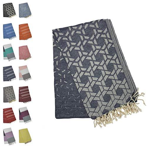 Holm 100% Turkish Cotton Peshtemal Towels - Best Oversized (39x70) Pestemal Luxury Towel for Travel, Beach, Home Bathroom, Fouta, Picnic, etc (Hexagon Navy)