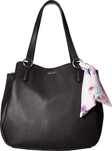 Nine West Womens Adrienne Shoulder Bag Black/Floral Scarf One Size