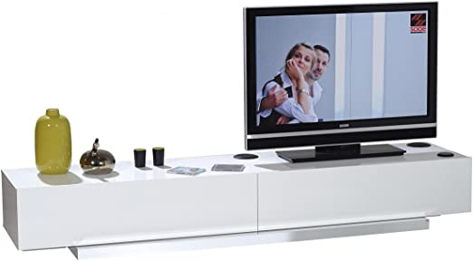 Tv Unit 220 Cm Designer White Lacquer Amazon De Kuche Haushalt