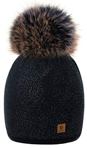 Chapeau Black En Bonnet Faux Tricoté Polaire 4sold Grand Couleur Silver Cap Avec Ski Plaine Femmes Laine D'hiver Neige Pom Bobble Doublure Snowboard qAAtxpXR