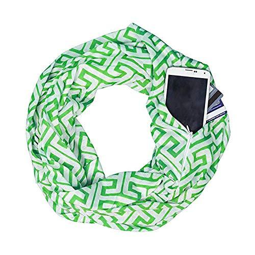 ShenPr Convertible Infinity Scarf with Hidden Zipper Pocket, Print Pattern Loop Circle Scarves Loop Shawl