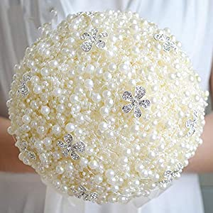 Luxurious Pearls Brooch Unique Weddings Bridal Bouquet Bride Holding Flowers Wedding Flowers Beads Wedding Bouquet FE20 34